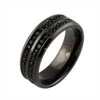 mens rings - mens jewelry black crystyal rings stainless steel wedding ring fashion engagement ring R B