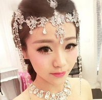 Wholesale Luxury Fashion Wedding Bridal Silver Crystal Rhinestone Headband Hair Accessories Princess Tiara Forehead pieces Earrings Jewelry Set HT64