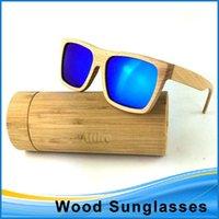wood mirror - Wood Sunglasses Men Women With Bamboo Box Handmade Wooden Glasses Revo Mirror Polarized Coating Sunglasses ESWD103