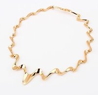 Wholesale 2015 New Fashion Lightning Choker Gold Silver Wave Chunky Collar Statement Necklace For Women