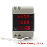 1 %(+/- 2 digit) active power electrical - High precision Digital Din Rail AC Voltage Amp Current Meter V A Red LED Display with Power Factor Active