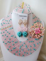 aqua dots set - Peach mixed teal blue aqua blue dot crystal necklaces costume jewellry bridal nigerian wedding african beads jewelry set AAA