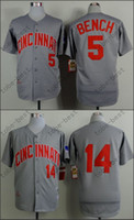 baseball benches - Cincinnati Reds Jersey Johnny Bench Pete Rose Hemp Grey Stitched Authentic Retor Throwback Baseball Jersey Embroidery Logo