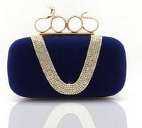 Wholesale Newest Punk Style Women s U Shape Shining Diamond Finger Ring Velvet Evening Bag Snakehead Fashion Vintage Ring Day Clutch