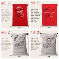 christmas gifts - 2016 hot style DHL Free Large Canvas Monogrammable Santa Claus Drawstring Bag With Reindeers Monogramable Christmas Gifts Sack Bags