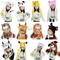 baby hat scarf and gloves - warm scarf cute cartoon animal design hat and scarf set for baby girl boy scarves children kids hat winter caps gloves
