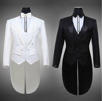 Wholesale Hot Tailcoat Groom Tuxedos Best Man Groomsmen Men Wedding Suits Notch Lapel Performance Suit Black White Jacket Pants Tie Vest