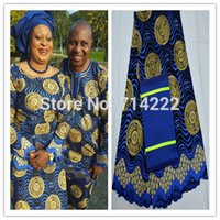 african headwrap - High quality African Swiss Voile Lace Fabric with beads matching aso oke head tie African headwrap royal blue new arrival