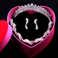 Wholesale Top Sale In Stock With Red Box Fashion Bride Accessory Silver Mental Necklace Earrings Crown Elegant Prom Party Wedding Jewelry Sets