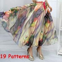 Cheap Hot New 19 Patterns Peacock Feather Fake Silk Elastic Waist Big Bottom Printed Bohemia Skirt Women Full Long Chiffon Skirt