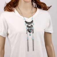 Wholesale Long set European hot sale fashion and latest design crystal leaf and turquoise pendant tassel necklace jewwllery