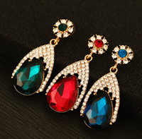 Wholesale Elegant Alloy Drop Earrings Girl Party Jewelry Valentine s Day Gift Women Stud Fashion Earring High Quality Zircon Earring J745
