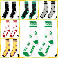 Wholesale 60pairs CCA2675 Styles New Fashion Tide Brand Style Sport Cotton Leaves Sock Unisex Hiphop Basketball Skateboard Stockings