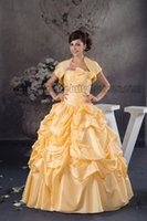 Wholesale 2014 Autumn New Women Trending Strapless Delicately Ruched and Beaded Yellow Ball Gown Prom Dress