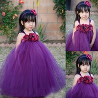 Cheap Fuchsia Spaghetti Straps Soft Tulle Ball Gowns For Little Girls With Flowers