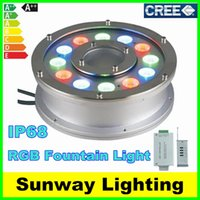 Wholesale Underwater Fountain Light RGB LED W W W W W IP68 LED light swimming pool Lamps LED fountain lights with RF remote Controller