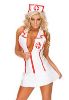 online shopping Nurse Costume Men White - Sexy Fashion Nurse Costume Women PVC White Man-Made Leather Uniform Cap + Dress Costume Plus Size SYFS-86