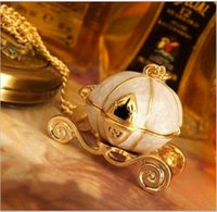 american fairy tales - New sweet necklaces Cinderella fairy tale pumpkin carriage alloy gold silver chains necklace sweater pendants jewelry cheap christmas gift
