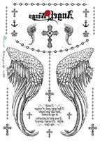 big cross tattoos - Waterproof tattoo sticker temporary tatoo color angel wing cross big pattern LC2829