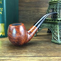Cheap Wholesale-6 Smoking Tools 100% Handmade Briar Smoking Pipe 9mm Filter Tobacco Pipe Wooden Pipe for smoking weed Classic pipe