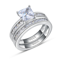 Wholesale Luxury Square Austria Crystal Ring Sterling Silver with Platinum Plated Fashion Silver Jewellery Rings OR28