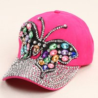 colored rhinestones - 2015 new arrive Hot selling Colored small butterflies full canopies point drill baseball cap adjustable Rhinestones unisex hat
