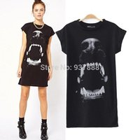 womens black dress shirt - Black Womens Ladies Animal Dog Head Print Short Sleeve T Shirt T Shirt Dress S1547 rl