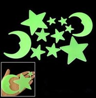 Wholesale Glow In The Dark Stars Moons Eco friendly PVC Fluorescent Luminous Wall Sticker Decorative Wall Decal for Kids Rooms Decoration