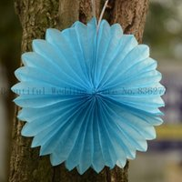 blue tissue paper - 8Inch Tissue Paper Fan DIY Wedding Supplies Pinwheel Backdrop Decor Inverted Flowe Origami Decorations Party Supplies Paper Pinwheel