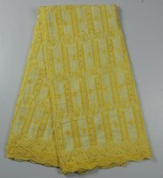 swiss voile lace - Amazing yellow embroidery Swiss voile dry lace fabric with stones Afrcian cotton lace dress material TC58 multi color