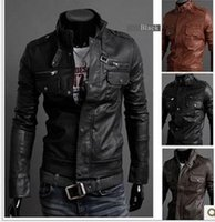 Wholesale 2015 Hot mens leather jacket Korean catwalks shall Slim Faux leather jacket PU leather coat high quality color size Factory price