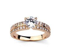 diamond solitaire - Two Layer Diamond Rings Fashion Wedding Solitaire Ring Zircon Ring Luxury Style