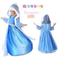 Cheap Wholesale Frozen Movie Frozen Elsa Hooded Starfish Princess Dress Children's Clothes Snow Children's Girls Dress
