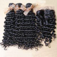 brazilian lace closure - Brazilian Deep Wave Hair Bundles with Lace Closure A Unprocessed Brazilian Virgin Hair Deep Curly Wavy Extension Weaves