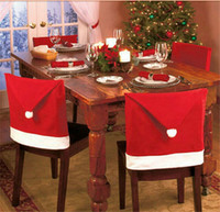 Wholesale 50pcs Christmas Decorations Home Party Holiday Santa Claus Hat Chair Covers Dinner Chair Cap Sets D358