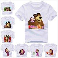 bear tee shirts - New Kids t shirt Cartoon Masha and Bear Print Boy Girl tshirt Summer Cotton Whtie Children Unisex Shirt Top Tees TZ205