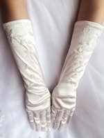 Wholesale Cheap In Stock White Ivory Below Elbow Length Full Fingers Bridal Gloves Exquisite Pearl Beaded Gloves Wedding Accessories CPA255