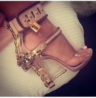 ankle strappy sandals - Luxury jewel embellished high heel sandal Ankle strappy locked up sandal leather and pvc pump mental nail dress shoe