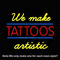 artistic sign - We Make Tattoos Artistic Neon Sign Neon Bulbs Recreation Room Garage Art Neon Signs Real Glass Tube Handcraft Best Gifts x20