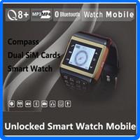 Wholesale Unlocked inch Q8 Watch Q8 Bluetooth Mobile Dual Sim Quadband Touch Screen Cellphone Spy Camera Compass Watch Wrist Phone