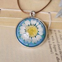ball shaped flowers - Unique White Daisy Flower Necklaces Half Ball Shape Handmade Long Leather Cord Necklaces Round Glass Pendant Necklace cm nxl025