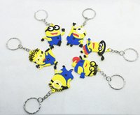 Wholesale 6 styles Despicable Me Minion Action Figure Cartoon Keychains Keyring Key Ring keyfob Cute Promotion Gifts DHL free CHR