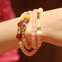 Cheap Vogue Wang Peach Popularity of Natural Citrine Bracelet Rose Quartz Jewelry Buddha Transport Multilayer Bracelet S46024