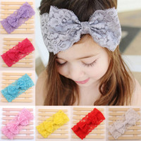 floppy - 2015 Multicolor fashion baby Lace headband baby Stretch headwraps lovely kids floppy bow headband girls headwrap Photo Prop Hair Accessories