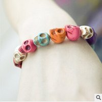 skull bracelet - 2014 Europen Fashion Exaggerated Personalized Mysterious Punk Stretch Colorful Skull bracelet statement jewelry