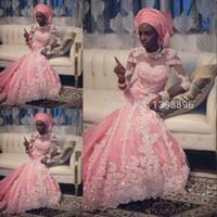 Cheap Fashion Design 2015 Kingly Arabic India Mermaid Wedding Dresses Pink Sequins Beads Appliques Bridal Gowns Plus Size Half Sleeve EM06144