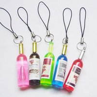 mini wine bottles - Cute Mini Multicolor keychain Red Wine Bottles Pattern Phone Strap Key Chain Straps Phone Accessories
