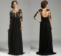 Wholesale New Balck Chiffon Long Sleeve Lace Evening Dresses Crew Applique Beads Column Sweep Train Formal Good Selling Elegant Formal Prom Gowns sg