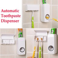 Wholesale Red White Home Bathroom Household Toothbrush Holder sets Korea Touch Me Automatic Toothpaste Dispenser Squeezer Family sets