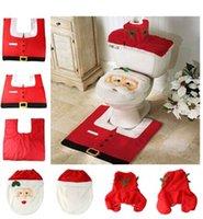 Cheap Christmas Decorations Santa Claus Toilet Seat Cover Foot Pad Rug Xmas Decor Bathroom set 3pcs=1 lot
